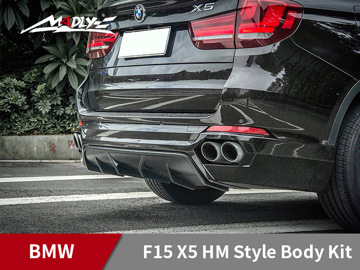 2014-2016 BMW F15 X5 HM Style With Double Four Hole Exhaust Tips Rear Lip