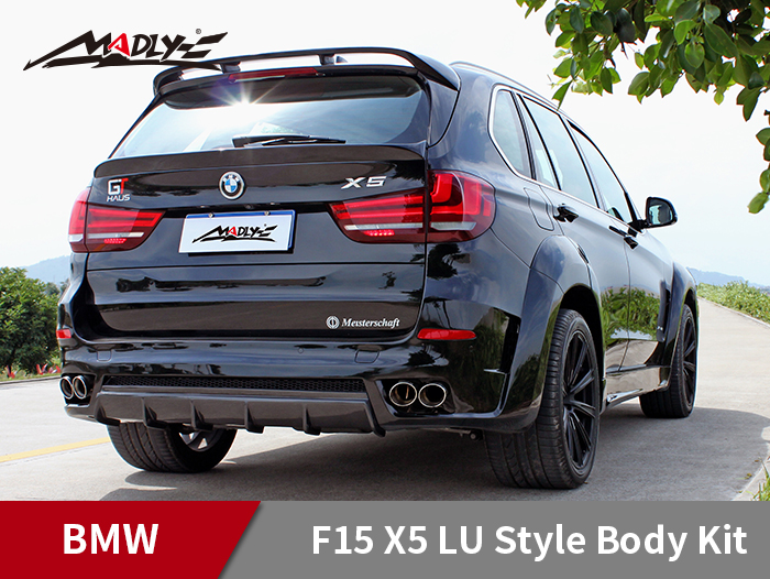 2014-2016 BMW F15 X5 / X5M LU style With Double Two Hole Exhaust Tips Rear Bumper