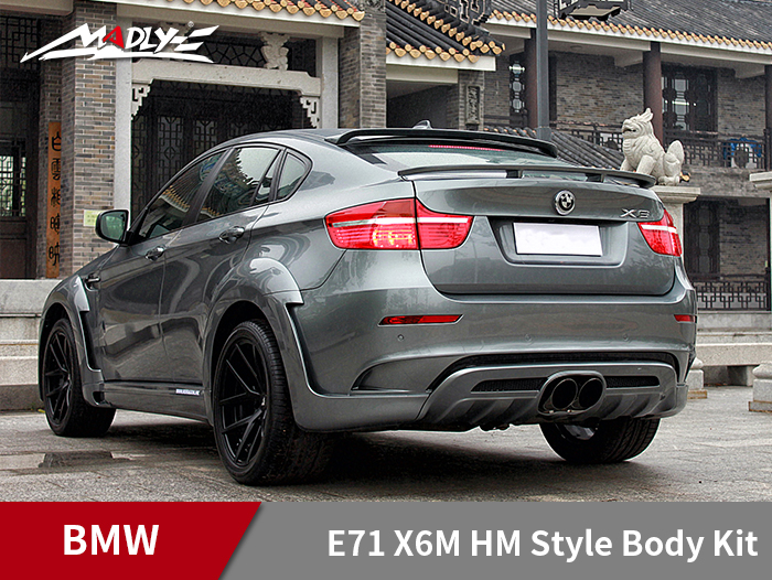 2008-2014 BMW E71 X6M HM Style Body Kits With Middle Round Exhaust Tips Rear Lip