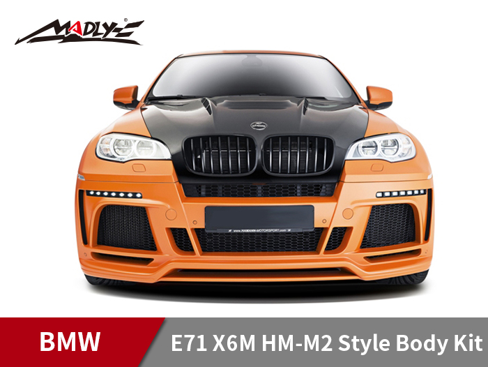 2008-2014 BMW E71 X6M HM-M2 Style Body Kits With Middle Square Exhaust Tips Front Bumper