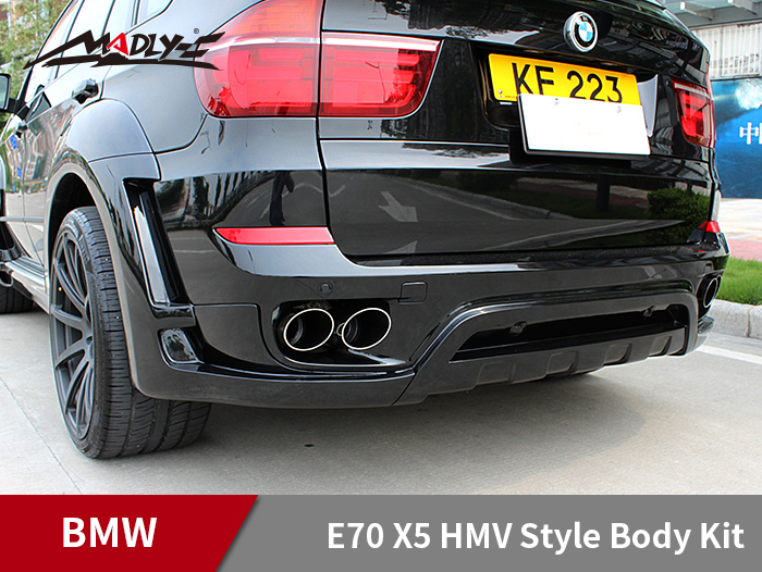 2008-2014 BMW E70 X5 HMV Style Body Kits With Double Two Hole Exhaust Tips Rear Lip