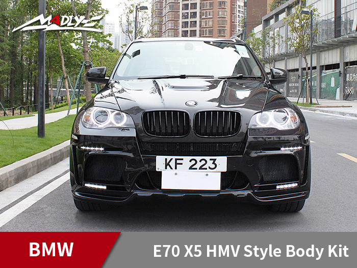 2008-2014 BMW E70 X5 HMV Style Body Kits With Double Two Hole Exhaust Tips Front Bumper