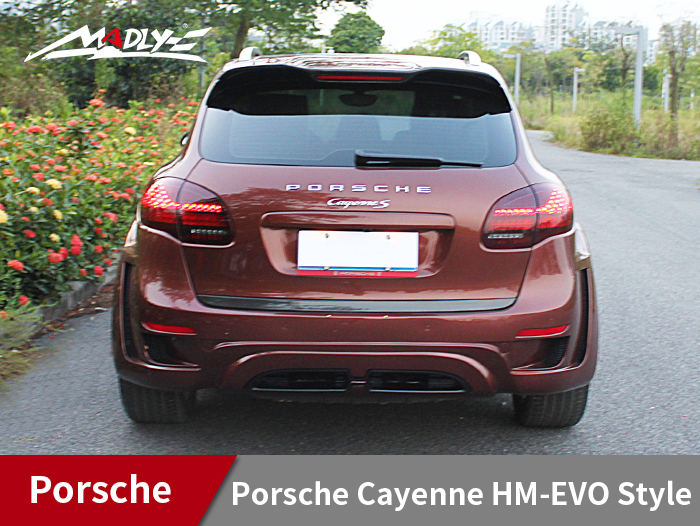 2011-2014 Porsche Cayenne HM-EVO Style Rear Bumper With Middle Flat Exhaust Tips
